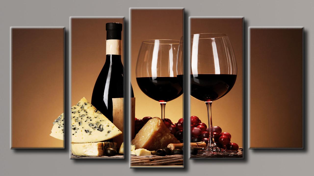 """Модульная картина на холсте """"Вино с сыром"""""""