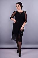 Аура. Елегантное женское платье супер батал. Черный.