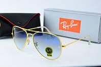 Солнцезащитные очки унисекс Ray Ban голубые с золотом Aviator 01-2
