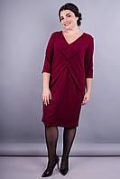 Шеридан. Изысканное женское платье супер сайз. Бордо.
