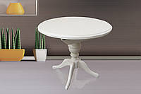 Стол Анжелика обеденный раскладной деревянный 90(+38)*90 белый