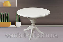 Стіл Анжеліка обідній розкладний дерев'яний 90(+38)*90 білий