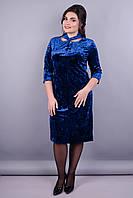 Велюр. Красивое платье супер батал для женщин. Электрик.