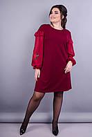 Роуз. Стильное платье для женщин супер сайз. Бордо.