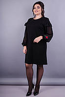 Роуз. Стильное женское платье супер сайз. Черный.