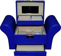 Кейс для косметики і прикрас розкладний фігурний KS-045, синій, Б'юті кейс