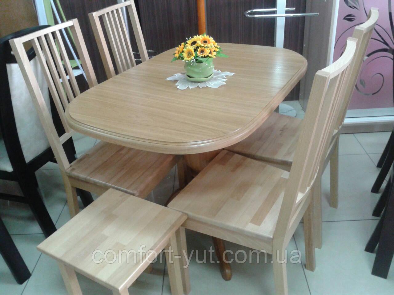 Стол Эмиль обеденный раскладной деревянный 105(+38)*74 натуральный