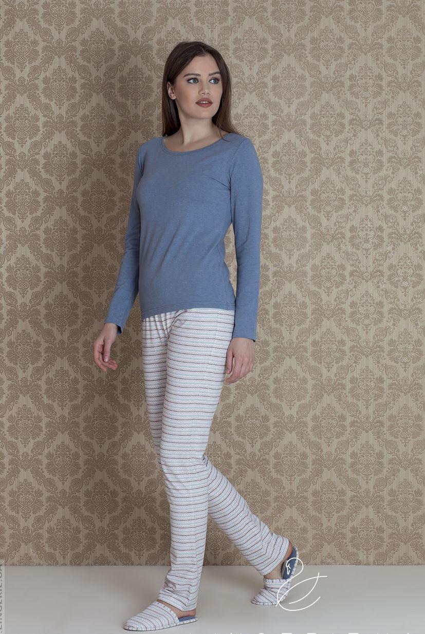 Красива жіноча піжама на довгий рукав у комплекті із капцями HAYS 17264
