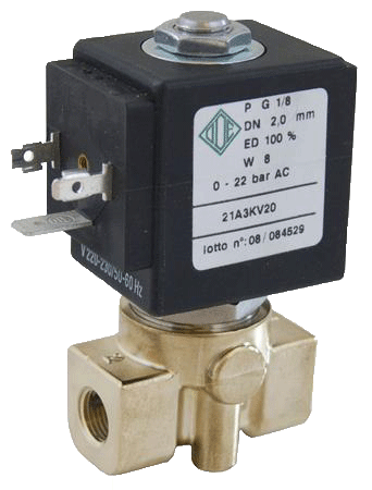 Электромагнитный клапан для воды нормально открытый, G1/8 (ODE, Italy)
