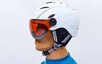 Гірськолижний шолом з визором та механізмом регулювання  (PC, p-p  M ,L, білий), фото 1
