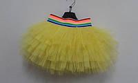 Фатиновая юбка для танцев желтая цветная резинка