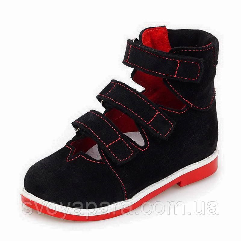 Ортопедические босоножки для девочки черного цвета из натуральной замши на подошве с каблуком Томаса