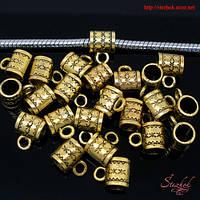 Металлические бейлы-бусины с кольцом 6х8мм золото