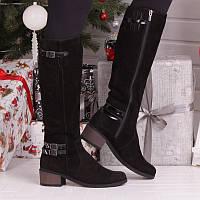 Зимние женские черные сапоги из натуральной замши с подкладкой из натуральной шерсти с застёжкой молния