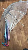 Прозрачный зонт полуавтомат с белой ручкой, фото 1