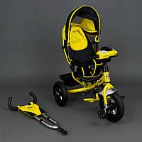 Велосипед трехколесный Best Trike 6588 В желтый, надувные колеса, фара, ключ зажигания