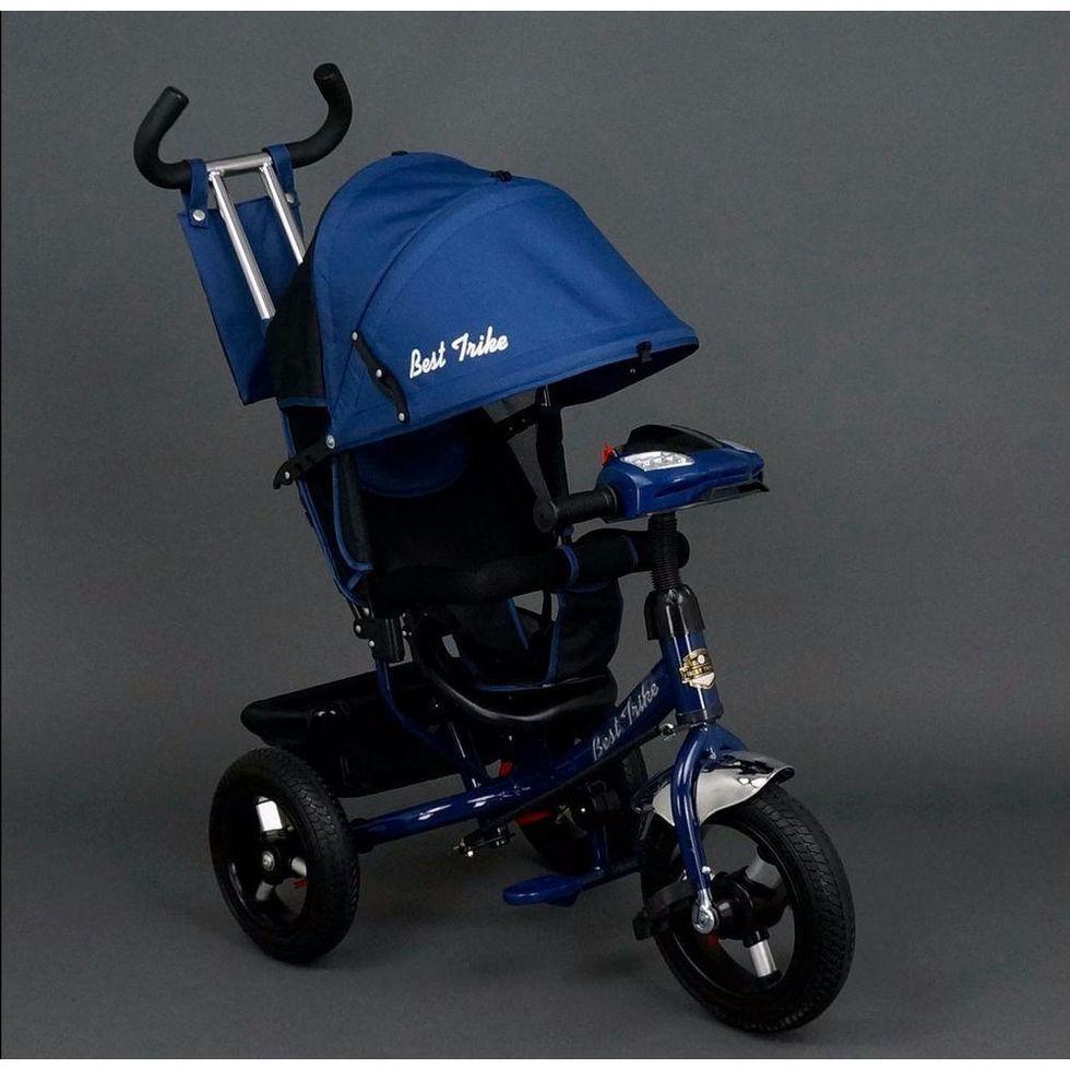 Велосипед трехколесный Best Trike 6588 В синий, надувные колеса, фара,