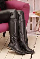 Сапоги зимние женские черные из натуральной кожи с подкладкой из натуральной шерсти с застёжкой молния