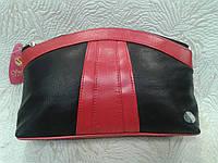 Косметичка кожаная красивая черная с красной вставкой (Swan)