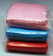 Шапка для солярію YRE ON-03 біла і синя шарлотка, в уп 100 шт, шапочка для солярію, одноразові шапочки для солярію, шапочки для салонів краси