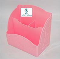 Подставка, контейнер для кистей на 3 секции розовая