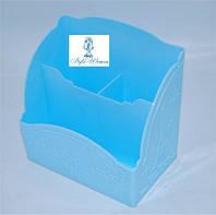 Подставка, контейнер для кистей на 3 секции голубая