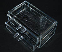Двоповерховий контейнер для косметики і біжутерії SF-1005-3, пластиковий, безбарвний, кейси для майстрів манікюру, все для манікюру, контейнера для