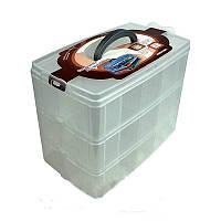 Великий контейнер бокс для косметики Рansies, пластиковий, на 3 секції, великий бокс для косметики, кейси для майстрів манікюру, все для манікюру