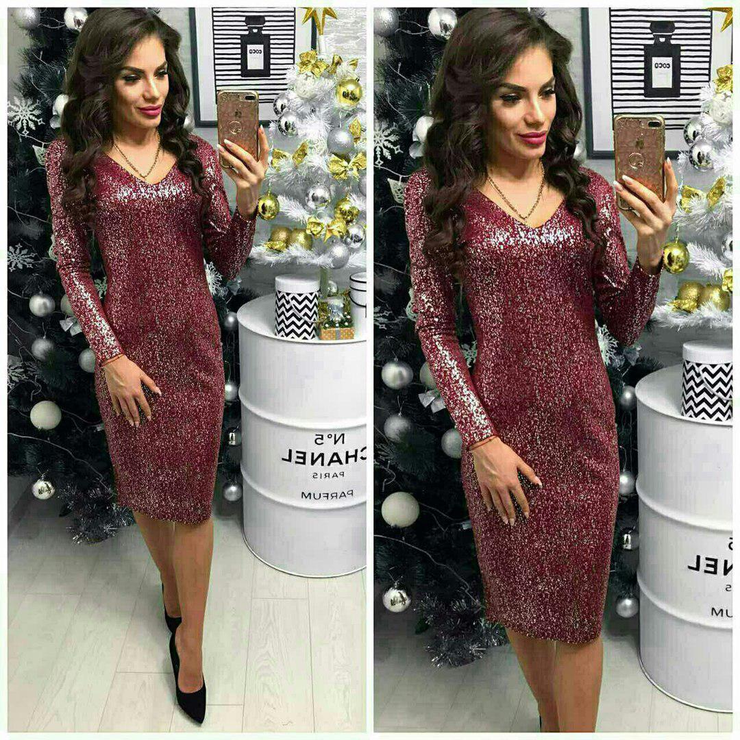 Платье вечернее, модель 801/2, цвет - марсала серебро