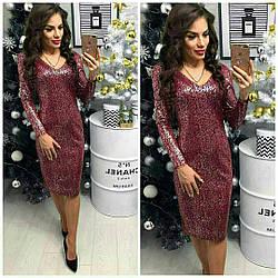 Сукня вечірня, модель 801/2, колір - срібло марсала