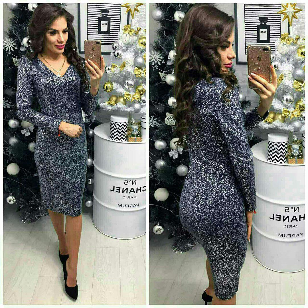 Платье вечернее, модель 801/2, цвет - черное серебро