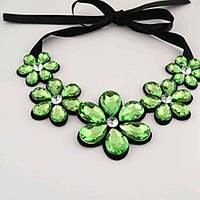 """Ожерелье """"Цветы"""" - Зелёный цвет + подарок"""