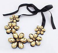 """Ожерелье """"Цветы"""" - Золотого цвета + подарок"""