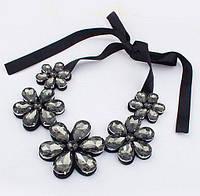 """Ожерелье """"Цветы"""" - Чёрный цвет + подарок"""