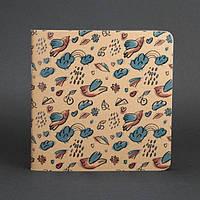 Тетрадь Бирюзово-шоколадные птички, темные и бежевые листы