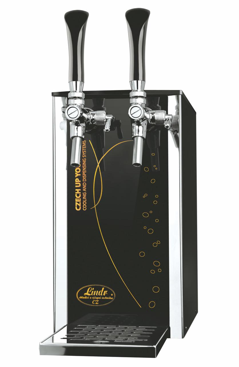 Охладитель разливного вина надстоечный 25 л/ч сухой - Pygmy 25/K Exclusive, с насосом, 2 кр., Lindr, Чехия С изображением пузырьков газа - для пива и др. напитков