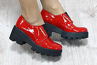 Туфли женские лаковые кожаные красные на резинке