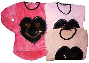 Кофта-туника махровая для девочек оптом, размеры 128-164, Wiyan Kids , арт. WS-16