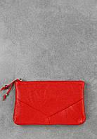 Женская кожаная косметичка Рубин, красная