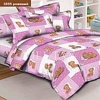 Комплект постельного белья в кроватку ранфорс 3555 розовый