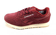 Кроссовки Reebok Classic Leather замшевые бордовые унисекс (р.37)