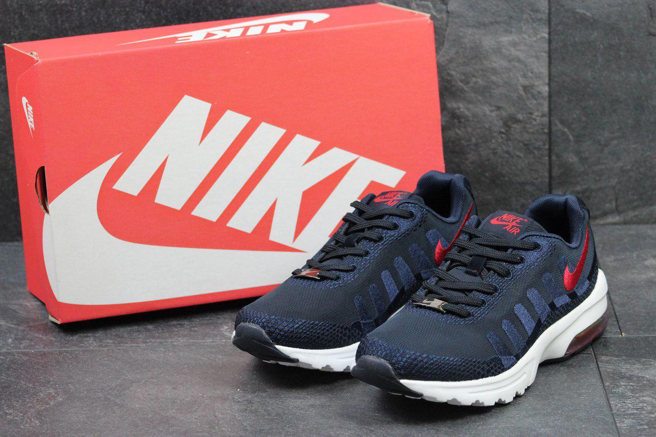 Кроссовки мужские Nike Air Max (синие с красным), ТОП-реплика