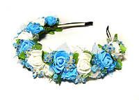 Обруч с цветами Розы голубые и белые