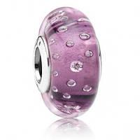 Подвеска-шарм Фиолетовое муранское стекло