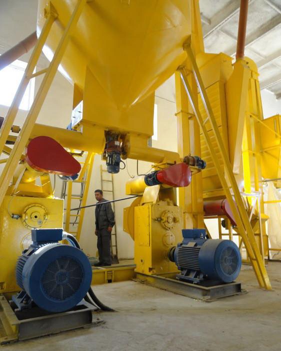 Линия гранулирования опилки. Потребляемая мощность 104.0 кВт