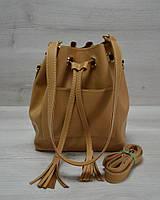Женская сумка из эко-кожи Люверс рыжего цвета