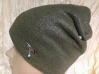 Шапка чулок двойная с накатом цвет оливковый, фото 1