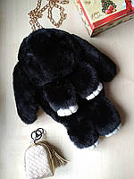 Сумка на цепочке из натурального меха черного цвета, фото 1