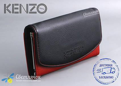 Кошелек женский кожаный черно-красный KENZO KE5890 AE , фото 2