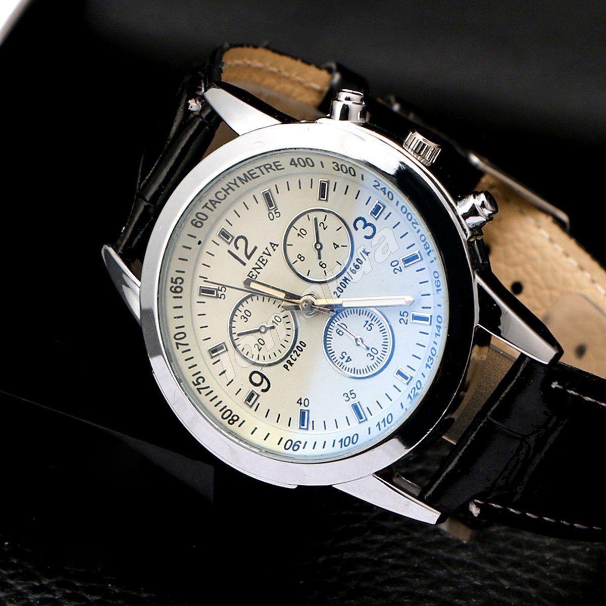Мужские кварцевые часы Geneva Phantom blue mirror Black stripe
